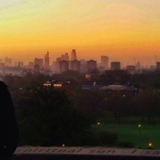 Sunrise with a background of London's skyline