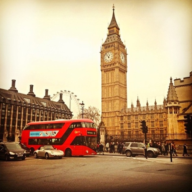 Big Ben and the famous London bus