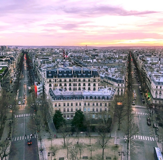 The view from the top of Arc de Triomphe
